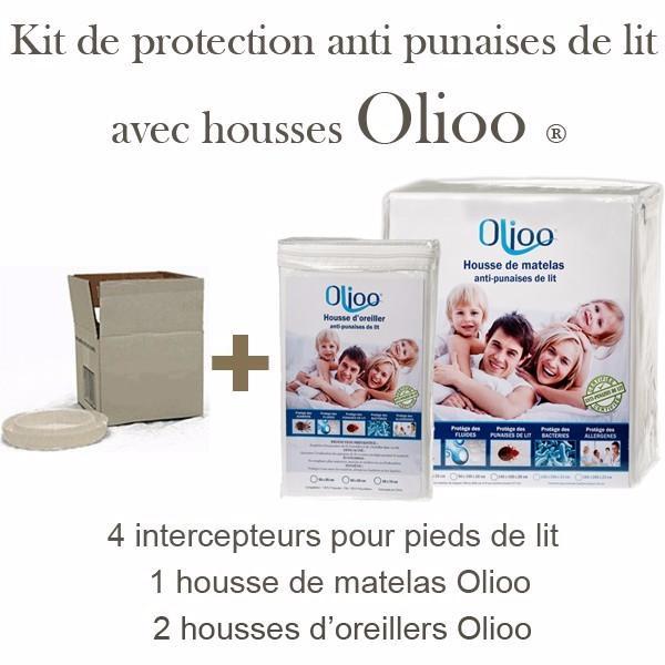 Kit simple pour literie avec housse olioo kit pour literie avec housse olioo avec intercepteurs - Housses anti punaises de lit ...
